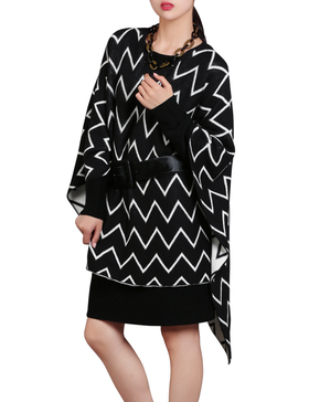 DELUXSEY Chevron Double-Layer Mirror-Image Pullover Ponchos (Black, M - L)