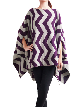 DELUXSEY Wool Blend Chevron Double-Layer Knit Poncho Sweaters (Purple, S - M)