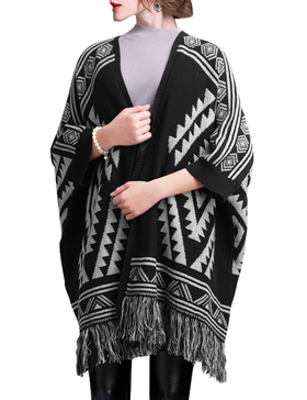 DELUXSEY Aztec Double-Layer Mirror-Image Poncho Cape for Women (Black, L - XL)