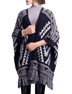 DELUXSEY Aztec Double-Layer Mirror-Image Poncho Cape for Women (Navy, L - XL)