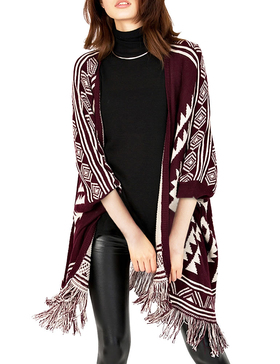 DELUXSEY Womens Aztec Double-Layer Mirror-Image Ponchos and Wraps (Wine, L - XL)