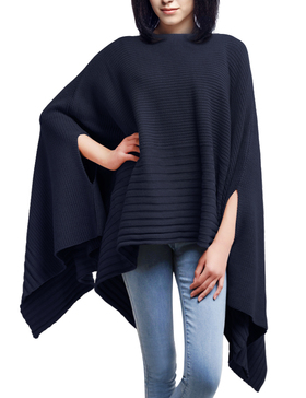 DELUXSEY Loose Knit Ponchos Capes for Women Pullovers Sweaters (Navy, S - M)