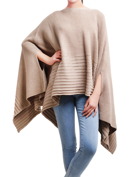 DELUXSEY Loose Mix Knit Pullover Ponchos for Women Pullover Sweaters (Khaki, M)
