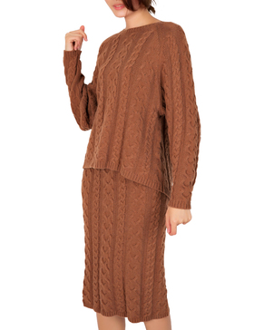 DELUXSEY Cable Knit Sweater & Midi Skirt - Fall Sweaters for Women (BROWN, S)