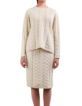 DELUXSEY Cable Knit Sweater & Midi Skirt - Fall Sweaters for Women (BEIGE, S)