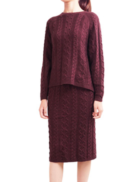 DELUXSEY Cable Knit Sweater & Midi Skirt - Fall Sweaters for Women (WINE, S)