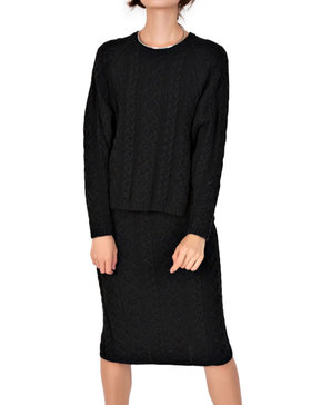 DELUXSEY Cable Knit Sweater & Midi Skirt - Fall Sweaters for Women (BLACK, S)