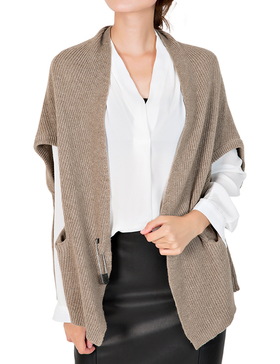 Li & Zi Short Batwing Sleeve Open Knit Cardigan Sweaters for Women (BROWN, M)