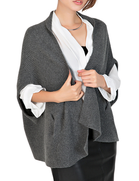 Li & Zi Short Batwing Sleeve Open Knit Cardigan Sweaters for Women(DARK GREY, M)