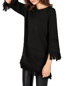 DELUXSEY Wool Blend Fringed Sweaters for Women - Pullover Sweaters (BLACK, S)