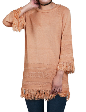 DELUXSEY Wool Blend Fringed Sweaters for Women - Pullover Sweaters (PEACH, S)