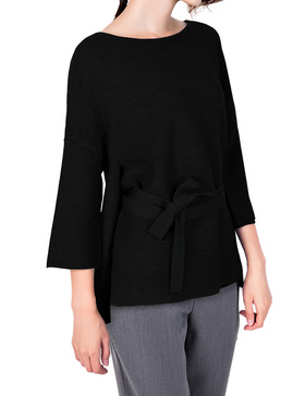 Li & Zi Wool Blend Belted Sweaters for Women - Side Slit Pullover (BLACK, XS)