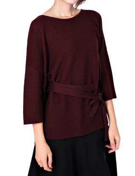 Li & Zi Wool Blend Belted Sweaters for Women Side Slit Pullover (DARK WINE, XS)