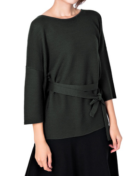 Li & Zi Wool Blend Belted Sweaters for Women Side Slit Pullover (DEEP GREEN, XS)