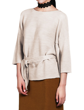 Li & Zi Wool Blend Belted Sweaters for Women - Side Slit Pullover (BEIGE, XS)