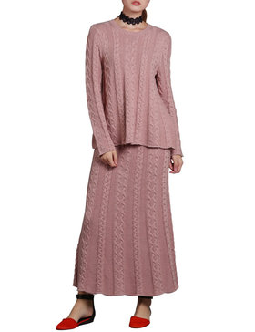 DELUXSEY Cable Knit Sweater & Maxi Skirt - Winter Sweaters for Women (PINK, S)
