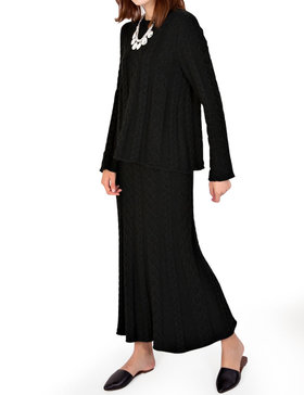 DELUXSEY Cable Knit Sweater & Maxi Skirt - Winter Sweaters for Women (BLACK, S)