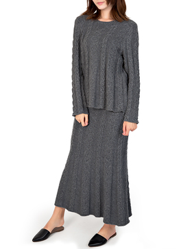 DELUXSEY Cable Knit Sweater & Maxi Skirt - Winter Sweaters for Women (GREY, S)