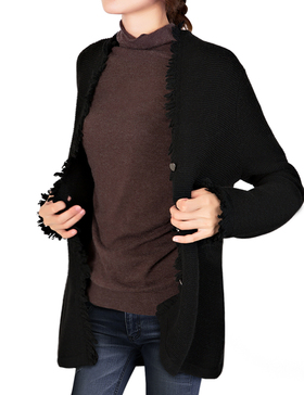 Li&Zi Womens Lambswool Long Sleeve Open Front Cardigan (Black, S)