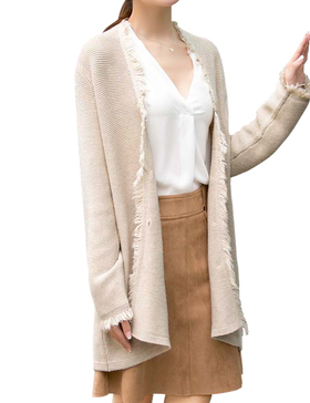 Li&Zi Womens Lambswool Long Sleeve Open Front Cardigan (Beige, S)