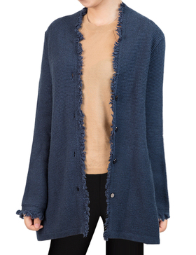 Li&Zi Womens Lambswool Long Sleeve Open Front Cardigan (Navy, S)