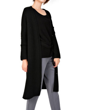 DELUXSEY Womens Lambswool Blend Longline Cardigan (Black, S)