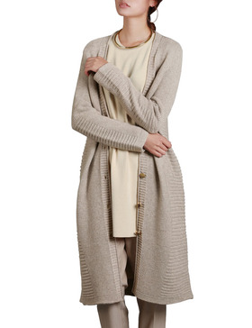 DELUXSEY Womens Lambswool Blend Longline Cardigan (Heather Grey, S)