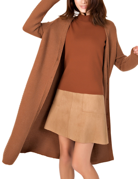 DELUXSEY Womens Lambswool Blend Longline Cardigan (Brown, S)