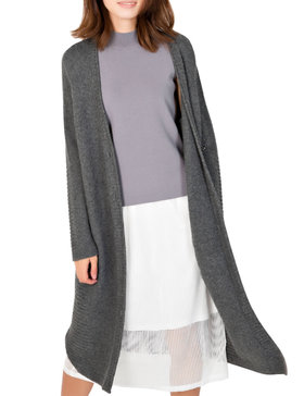 DELUXSEY Womens Lambswool Blend Longline Cardigan (Charcoal Grey, S)