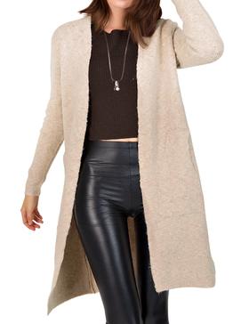 DELUXSEY Wool Blend Open Cardigan Sweaters for Women (BEIGE BASE, S)