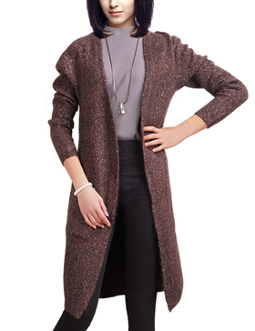 DELUXSEY Wool Blend Open Cardigan Sweaters for Women (DARK BROWN BASE, S)