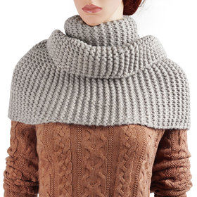 DELUXSEY Womens Long Infinity Scarf (Heather Grey)