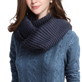 DELUXSEY Womens Long Chunky Infinity Scarf (Navy)