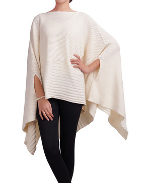 DELUXSEY Loose Pullover Poncho Cape for Women (White, S - M)