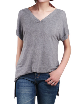 LUOTILIA High Low Shirts for Women - Loose Shirts (GREY, S)