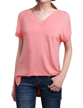 LUOTILIA High Low Shirts for Women - Loose Shirts (PINK, S)