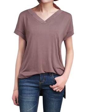 LUOTILIA High Low Shirts for Women - Loose Shirts (BROWN, S)