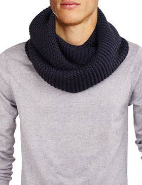 DELUXSEY Mens Long Chunky Infinity Scarf (Navy)