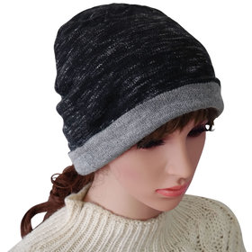 DELUXSEY 2 Layer Knit Slouchy Beanie for Women (Black & Grey Marled)