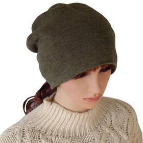DELUXSEY 2 Layer Knit Slouchy Beanie for Women (Army Green)