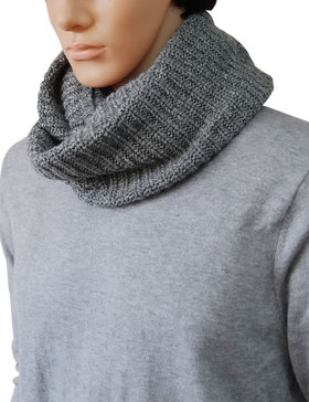 DELUXSEY Mens Extra Wide Infinity Scarf (Heather Grey)