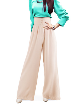 DELUXSEY High Waist Wide Leg Pants for Women Palazzo Pants (Beige, XS)