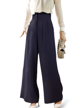 DELUXSEY High Waist Wide Leg Pants for Women Palazzo Pants (Navy, XS)