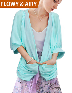 DELUXSEY Women Chiffon Cardigan - Open Front Cardigans for Women (Light Blue/XS)