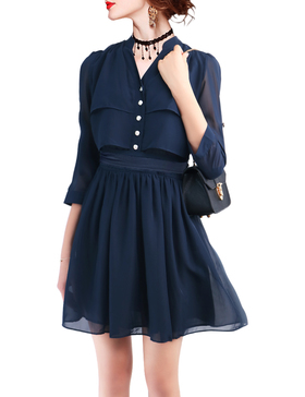 DELUXSEY Chiffon Shirt Dresses for Women Work (NAVY BLUE, XS)