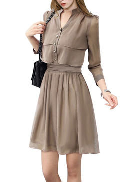 DELUXSEY Chiffon Shirt Dresses for Women Work (LIGHT COFFEE, XS)