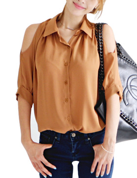 DELUXSEY Cold Shoulder Tops for Women - Chiffon Blouses Button Down (TAWNY, XS)