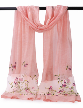 EGO ECHO Womens Embroidered Oblong Scarf (Pink)