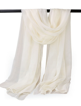 EGO ECHO Womens Long Silk Oblong Scarf - Solid Silk Scarf Scarves Wraps (Beige)