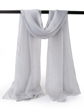 EGO ECHO Womens Long Silk Oblong Scarf - Solid Silk Scarf Scarves Wraps (Grey)